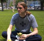 Me eating the King's falafel on the Boston Common