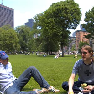 Jonas and I eating falafel on the Boston Common