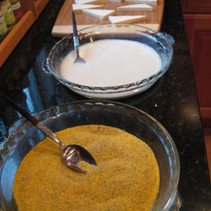 Production line for chili-cornmeal crusted tofu
