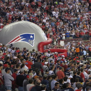 The inflatable head from which the Patriots emerge