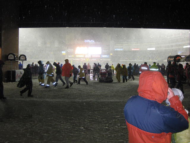 In the Gillette concourse looking toward the field