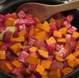 Starting hash with chioggia beets and sweet potatoes