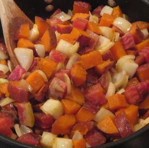 Added onions to the chioggia beet and sweet potato hash