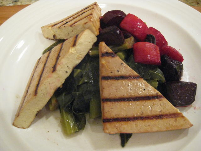 Smoky grilled tofu, collard greens, roasted maple-glazed beets and carrots