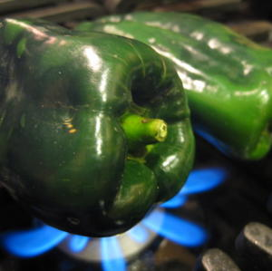 Roasting poblano peppers