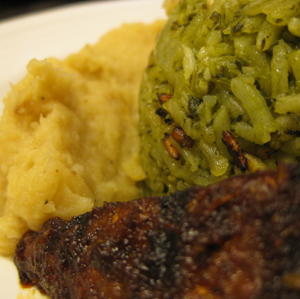 Poblano rice, spicy grilled tempeh, roasted parsnip puree