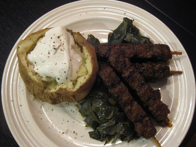 Collard greens, grilled Gardein BBQ skewers, baked potato with Tofutti sour cream