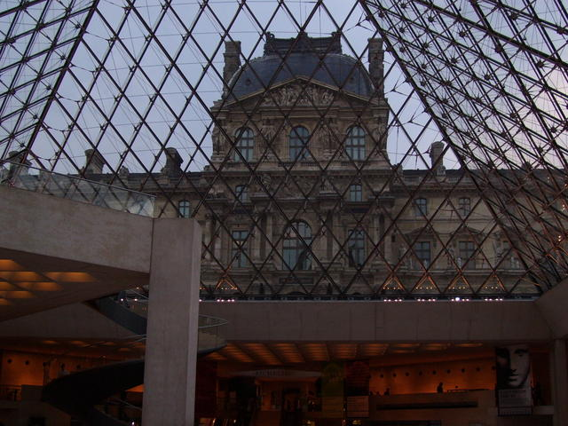 Inside the Louvre looking out